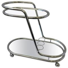 Chrome, Mirror and Glass Bar Cart