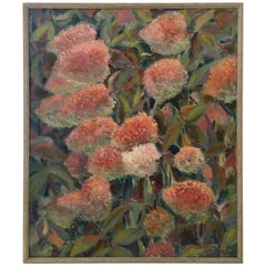 """Oil on Canvas Painting """"Flowers"""" by Maria Gertsman, 1963"""
