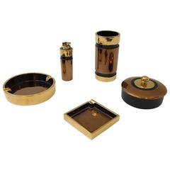 Gold and Copper Glazed Italian Ceramic Smoking Set by Bitossi