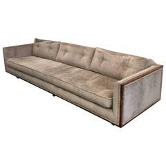 Long Low Profile Dark Walnut Framed Sofa