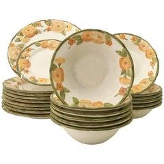 """1960'S Ceramic Metlox """"Zinnia Poppy Trail"""" Dinnerware Set of 22 Pieces"""