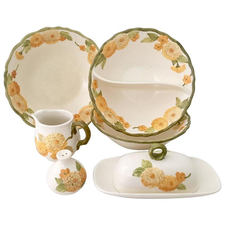 1960s Ceramic Metlox Quot Zinnia Quot Dinnerware Set Of Seven