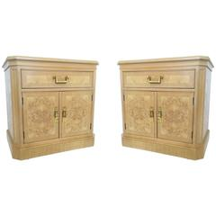 Pair of Mid-Century Modern Heritage Burl Wood Bedside Cabinets