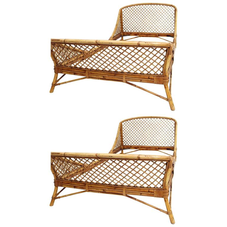 Pair Of 1950s Mid Century Modern Rattan And Bamboo French