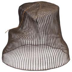 Late 19th Century Horse Hair Hat with Original Wood Base, Korea