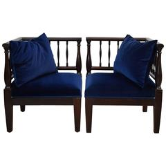 19th Century Mahogany Pair of Armchairs / Loveseats