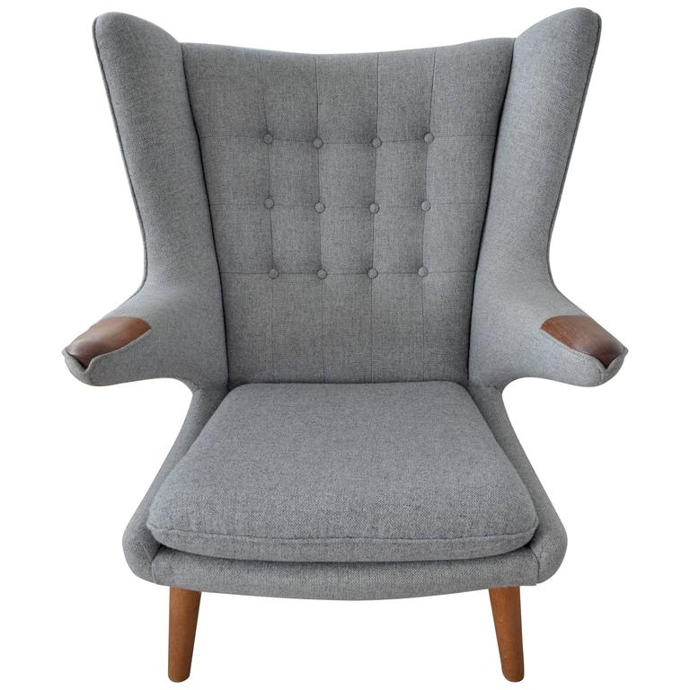 Hans Wegner Papa Bear Chair U0027AP19u0027 Gray Wool Teak ...