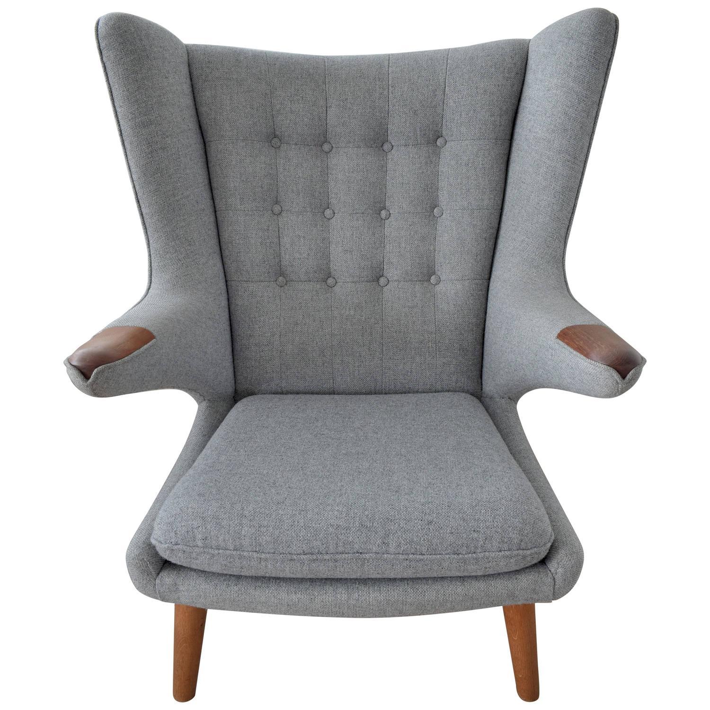 Hans Wegner Papa Bear Chair AP19 gray wool teak oak For Sale at