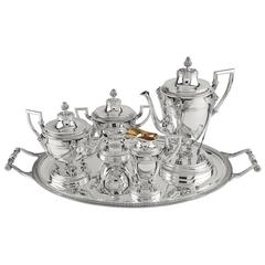 Elegant Coffee Set with Four Pieces and Tray