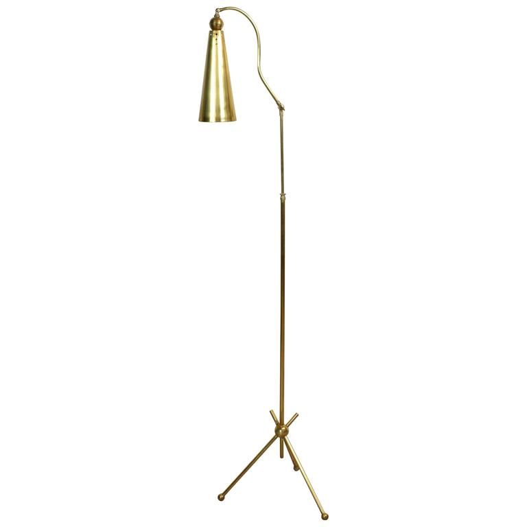 Mid-Century Stilnovo Attributed Brass Floor Lamp, circa 1950