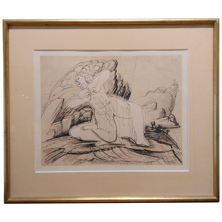 Signed Ink Drawing by Henry de Waroquier, France 1930s