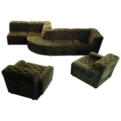 Modular Sofa with Snake Pattern in Beautiful Grass Green Velvet, Top Condition