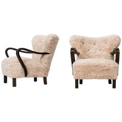 1940s Easy Chairs in Sheepskin Produced in Denmark