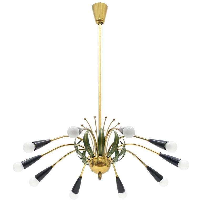 Ten-Arm Brass Chandelier with Floral Details, 1950s