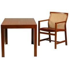 1980s Rud Thygesen and Johnny Sørensen Desk and Chair - Mahagony and Red Leather