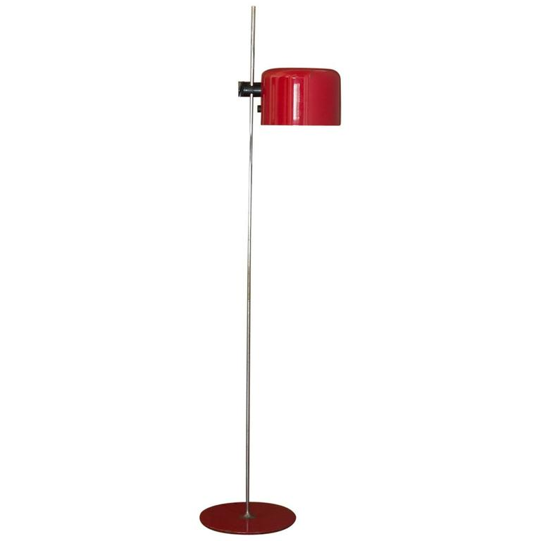 1967 joe colombo for o luce red quotcoupequot floor reading for Red uplighter floor lamp
