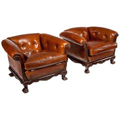 Superb Pair of 19th Century Mahogany Leather Armchairs