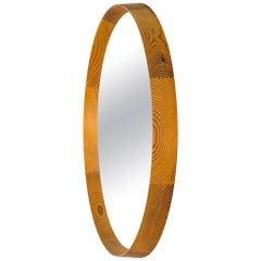 Round Mirror in Oregon Pine Produced in Sweden