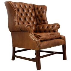 Vintage Leather Wing Chair
