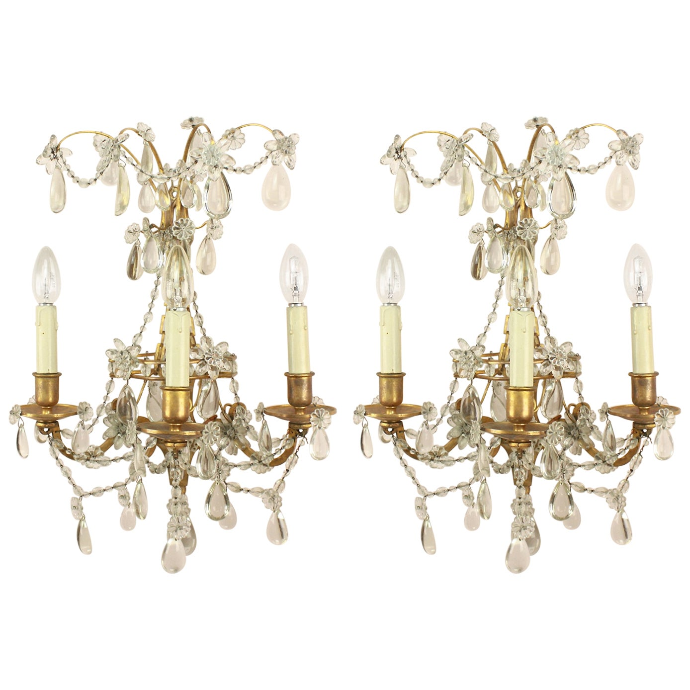 Pair of Regence Style Maison Bagues Three Branch Wall Sconce, circa 1900