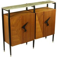 Living Room Cabinet Attributed to Luigi Scremin Maple and Mahogany Veneer, 1950s