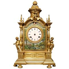 20th Century Italian Table Clock in Bronze with Signed Painted Decorations