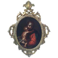18th Century Italian Venetian School Virgin with Child Oval Religious Painting