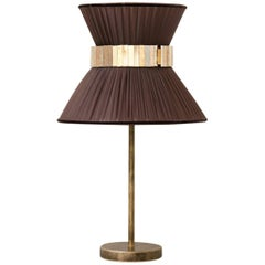 """Tiffany"" contemporary Table Lamp 23 tobacco Silk,Antique Brass,Silvered Glass"