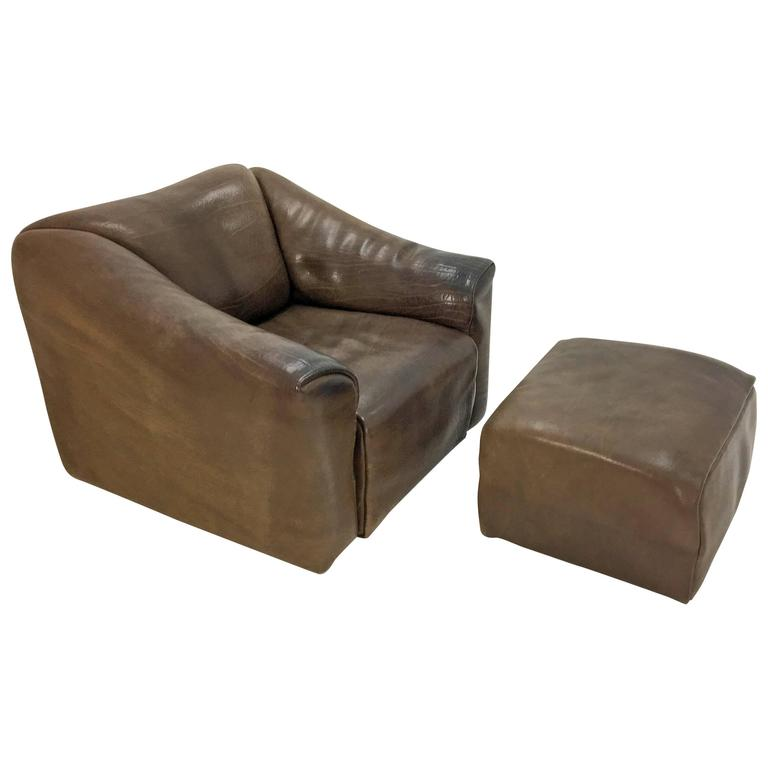 1970s De Sede Lounge Chair with Ottoman For Sale