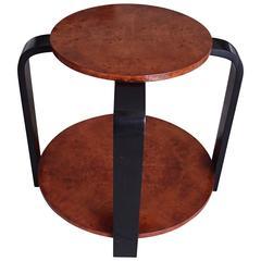 Art Deco Round Two Top Gueridon Birdseyemaple Black Legs