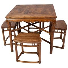 Rare Qianlong Qing Dynasty Table with Four Stools