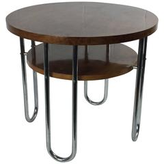 Modernist Bauhaus Tubular Round Table From Thonet, 1930s