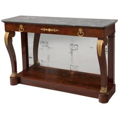 Large Empire Period Flame Mahogany Console with Bleu Turquin Marble, circa 1815