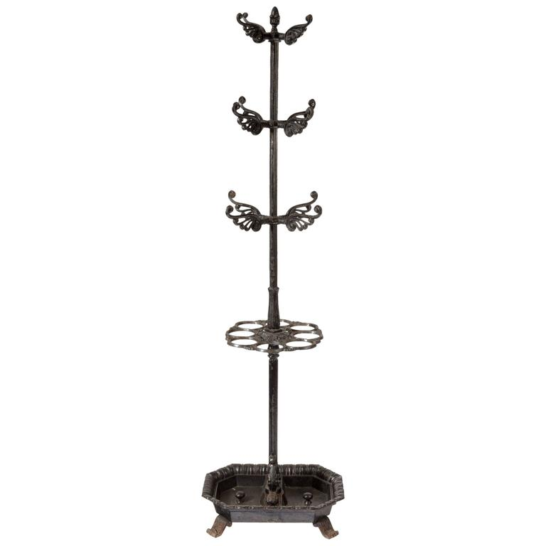 Victorian Umbrella, Coat and Hat Hall Stand in Cast Iron 1