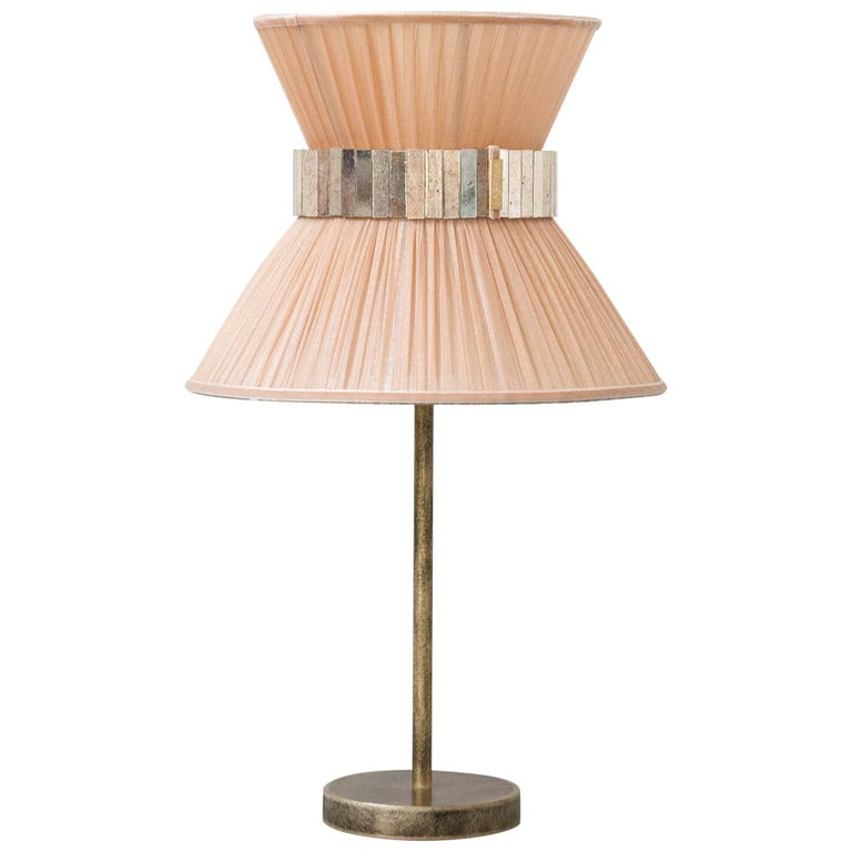 """""""Tiffany"""" Table Lamp in power Silk, Antiqued Brass, Silvered Glass Handmade   For Sale"""