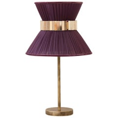 """Tiffany"" contemporary Table Lamp 23 purple Silk,Antiqued Brass,Silvered Glass"