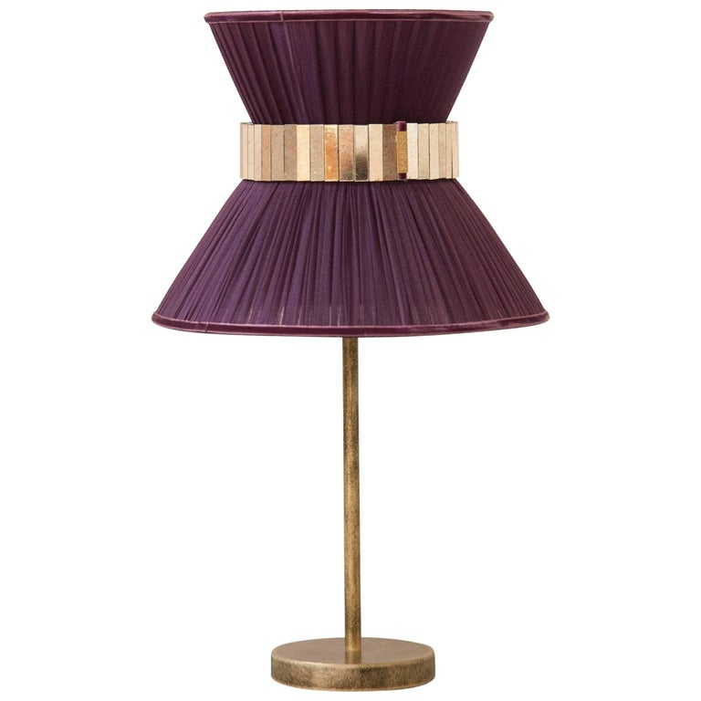 """""""Tiffany"""" Table Lamp in purple Silk, Antiqued Brass, Silvered Glass Handmade   For Sale"""