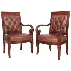 Pair of French Empire Style Mahogany and Leather Library Chairs
