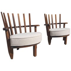 Easy Chairs by Guillerme & Chambron Mid-Century Modern Hollywood Regency