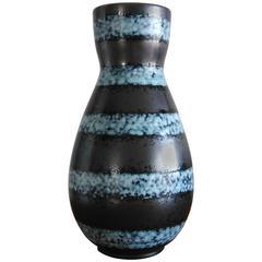 Elegant Glazed Blue and Black Ceramic Vase by Elchinger, France, 1960s