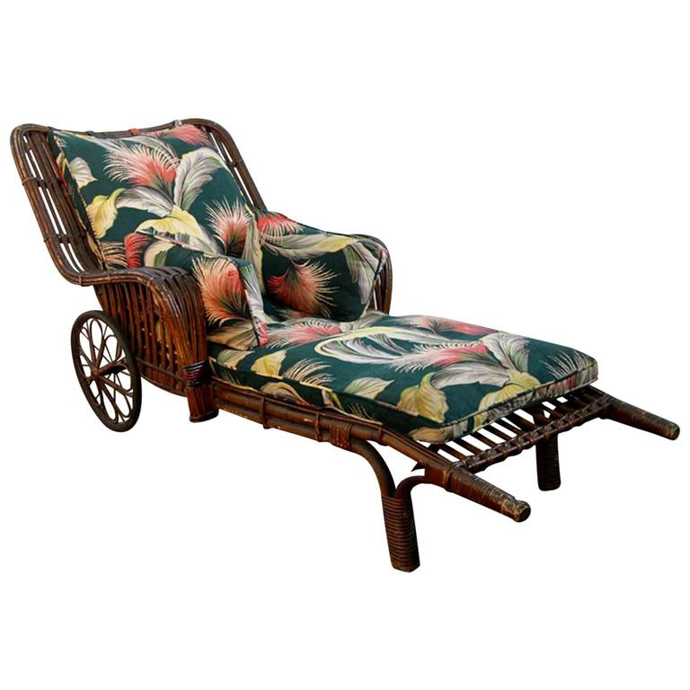 Antique stick wicker chaise lounge chair with barkcloth for Antique chaise lounge furniture