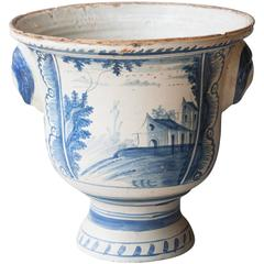 Large Late 18th-Early 19th Century Blue and White Faïence Jardiniere, Rouen
