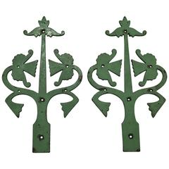 Pair of Gothic Revival Cast Iron Hinges