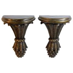 Pair of Bronze Wall Sconce/Shelves
