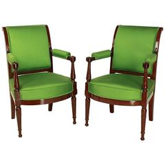 Pair of Mahogany Armchairs in the Manner of Henri Jacob, circa 1795