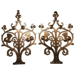Pair of Handcrafted Gothic Revival Copper Hinges with Thistle Decoration