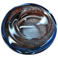Scandinavian Blue Art Glass Jellyfish Dish
