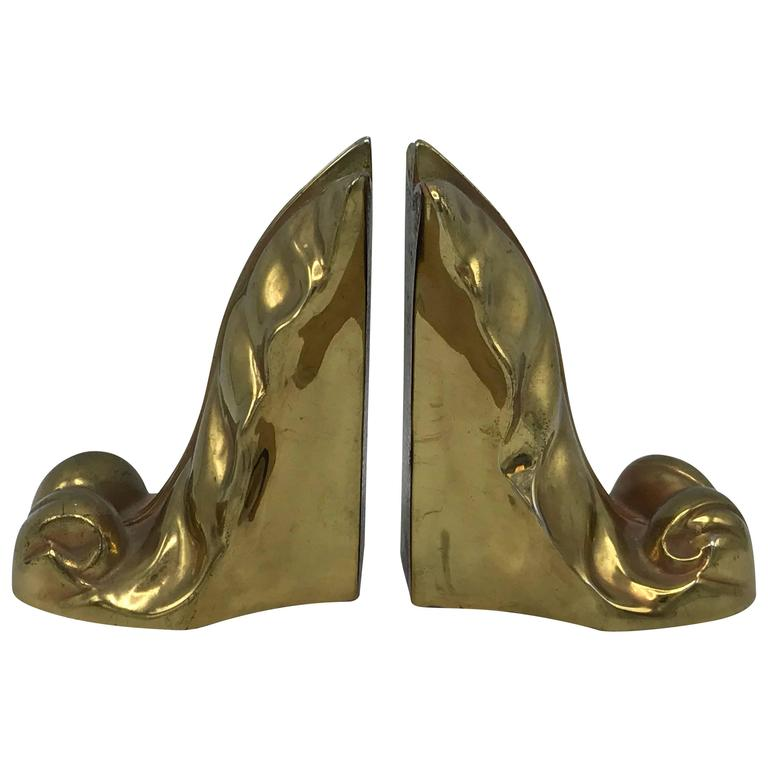 1950s Brass Acanthus Leaf Scroll Bookends, Pair For Sale