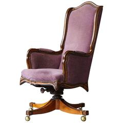 French Provincial Style High Back Walnut 'Banker's' Chair