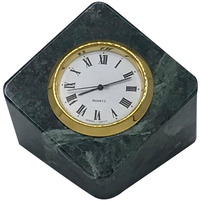 1960's Geometric Green Marble and Brass Desk Clock